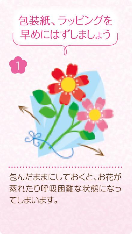 1.包装紙、ラッピングを早めにはずしましょう。包んだままにしておくと、お花が蒸れたり呼吸困難な状態になってしまいます。